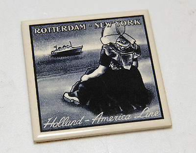 """LOT of 6 HOLLAND AMERICA LINE Rotterdam New York , Delft Tile, 4"""" x 4"""", Exc+"""