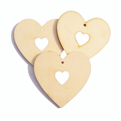 25pcs Vintage Plain Heart Wooden Pieces Scrapbooking Embellishment MDF Craft