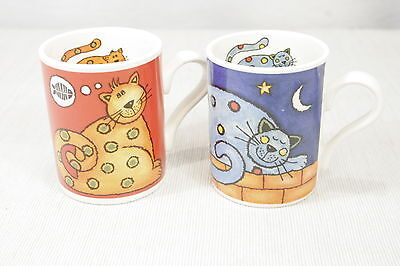 LOT of 2 Arthur Wood England Cat Mugs, Red and Blue Excellent