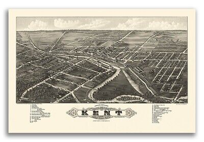 1882 Kent Ohio Vintage Old Panoramic City Map - 16x24