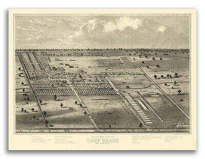 1860s Camp Chase Ohio Vintage Old Panoramic City Map - 20x28