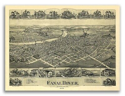 20x24 Sandusky Ohio 1870 Historic Panoramic Town Map
