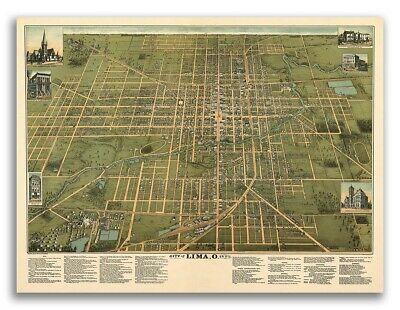 Lima Ohio 1892 Historic Panoramic Town Map - 18x24