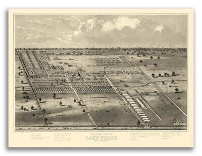 Camp Chase Ohio 1860s Historic Panoramic Town Map - 18x24