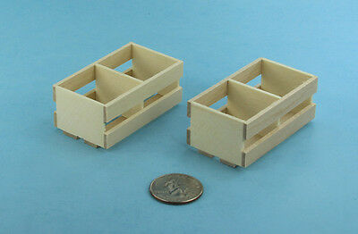 Pair of 2 Dollhouse Miniature 1:12 Scale Wooden Fruit/Vegetable Crates #SD1642
