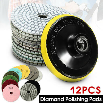 Diamond Polishing Pads 4 inch Wet/Dry 12 Piece Set Granite Stone Concrete Marble
