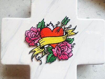 Tattoo Bleeding Heart Arrow Rose Love Embroidered Iron On Patches Patch