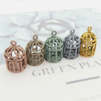 Mixed Colors 10pcs Hollow Bird Cage Alloy Charms Pendants Findings Crafts 53059