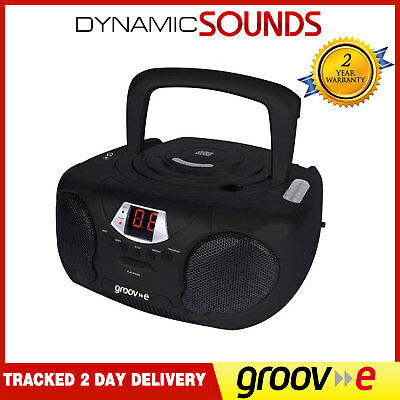 GROOV-E GVPS713BK Boombox Portable CD Player, Radio Aux In Headphone Jack Black