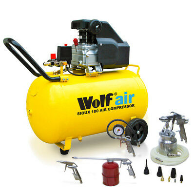 Wolf Portable 100 Litre Air Compressor 2.5HP 116psi 9.1CFM  & 13pc Air Tool Kit