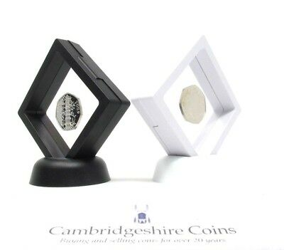 Square Clear Coin Ring Jewellery Holder Display Case + Stand KEW Sovereign Etc.