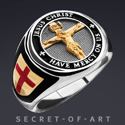 Jesus Ring Silber 925,  Have mercy on us, superedel mit Gelbgold-Plattierung