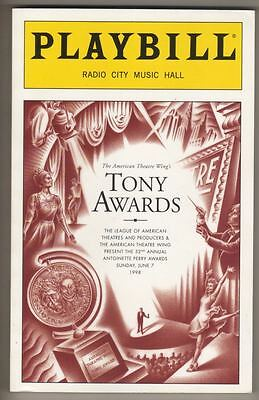 Tony Awards Playbill 1998  210 Pages   Hosted by Rosie O'Donnell