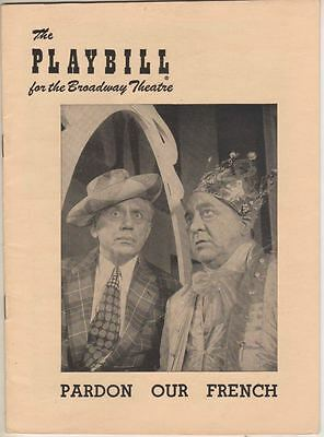 """Olsen and Johnson   """"Pardon Our French""""    Playbill   1950    Broadway"""