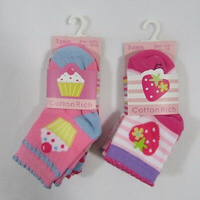 Baby Babies Girl Girls Cupcakes Berry Socks Pack Of 3 Cotton Rich Toddler Infant