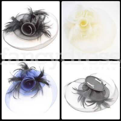 Flower Rose Fascinator Feathers Clip Feather Wedding Bridesmaid Ladies Day Ascot