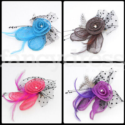 Flower Fascinator Brooch Clip Feather Wedding Bridesmaid Ladies Day Ascot NEW