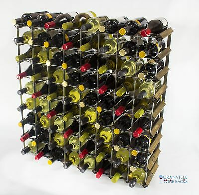 Classic 72 bottle walnut stained wood and metal wine rack ready to use