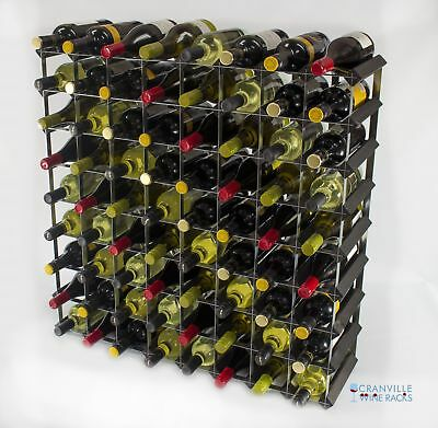 Classic 72 bottle black stained wood and metal wine rack ready to use