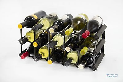 Classic 15 bottle black stained wood and black metal wine rack ready to use