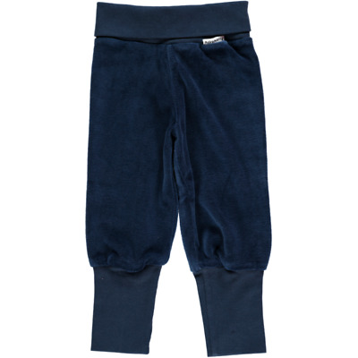 BNWT Baby Boys Girls Maxomorra Dark Blue Velour Trousers NEW Organic Pants