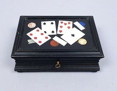 Superb Vintage Early 20c Playing Card Gambling Pietra Dura Plaque Card Deck Box