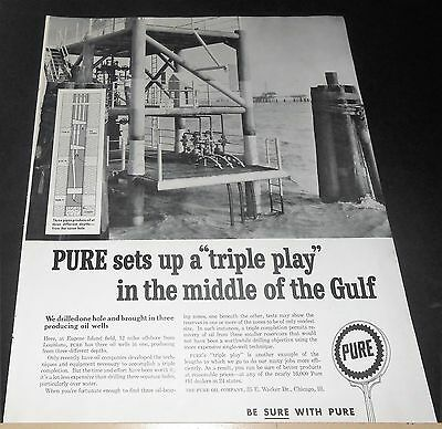 1959 Pure Oil Sets Up Triple Play In Middle Of Gulf Advert Eugene Island Field