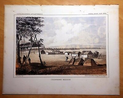 CHEMAKANE MISSION 1860 Antique Lithograph TSHIMIKAIN WASHINGTON