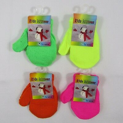 Baby Babies Girls Boys Gloves Mittens Plain Mits Knitted Neon Pink NB 24 Months
