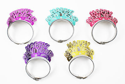 Happy New Year Eve Tiaras 12Pk Glitter Crown Headwear Fancy Dress 2018 Partyware