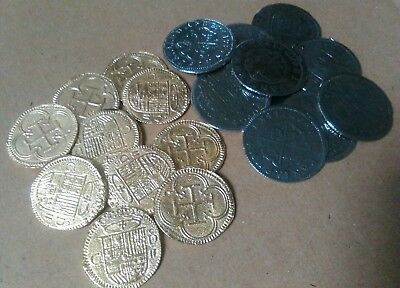 20 Pirate Treasure Coins - 10 Gold Doubloons And 10 Silver 2 Reales