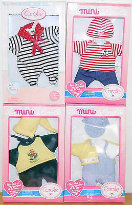 """New - Mini Calin Series Corolle Rare 8"""" Doll Boy Outfits Set of 4"""