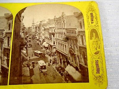 Antique Stereoview Card America Illustrated Boston & Suburbs Architecture Street