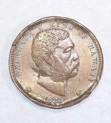 BARGAIN 1883 KINGDOM OF HAWAII King KaIakaua Silver Dollar VERY FINE 25c
