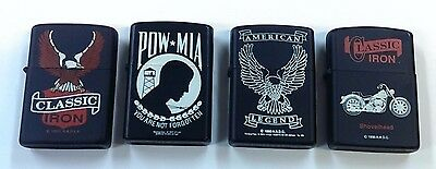 4 classic reproduction MOTORCYCLE lighters - NEW IN BOX !!