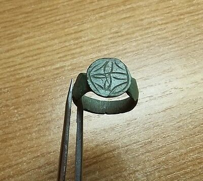 Old Antique bronze Post- Medieval Ring with  Engraved  #2061
