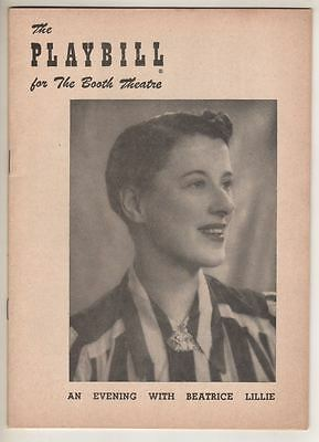 """""""An Evening With Beatrice Lillie""""  Broadway  Playbill  1953"""