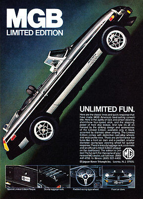 """1980 MG MGB Limited Edition photo """"Unlimited Fun"""" vintage promo print ad"""