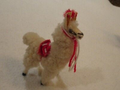 "Llama 4.5""-Peru Animal Figurine-Felt/fur-Vintage-Zoo-Hand Crafted"
