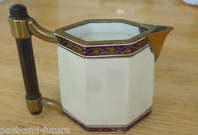 Very Unusual Spode Copeland's China Cream Pitcher With Enameled Brass Fittings