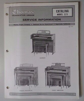 Original Thomas Organ Service Information Catalina 225