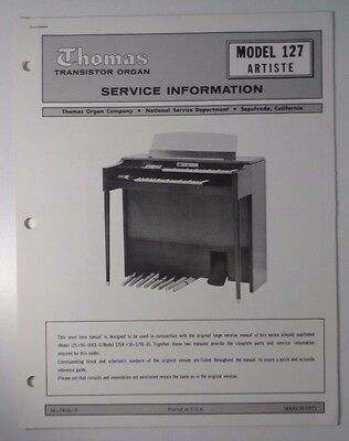 Original Thomas Organ Service Manual Artiste 127