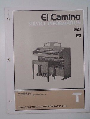 Original Thomas Organ Service Information El Camino 150 151