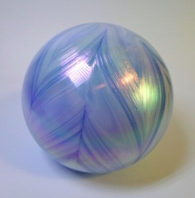 GIBSON 1987 IRIDESCENT PAPERWEIGHT Pulled Feather Pattern Pastel Color Art Glass