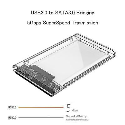 2.5 inch Transparent USB3.0 HDD Case Tool Box Free UARF Hard Drive Enclosure RF