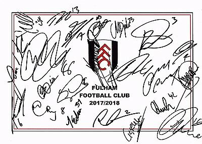 New,  Fulham Fc, 2017/18 Superb Hand Signed A4 Card Sheet By 21