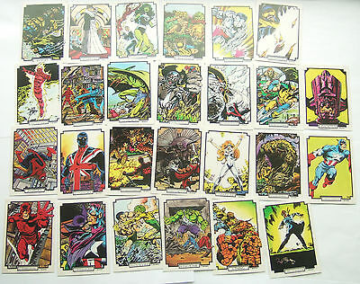 Marvel Super Hero Trading Cards : 26 Cards in Good Condition - All Different