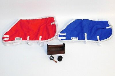 Breyer Accessory Lot: 2 Traditional Size Blankets Red & Blue, Box & 2 Brushes