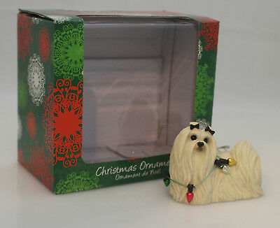Sandicast Ornament Maltese with Christmas Lights - #XSO09301