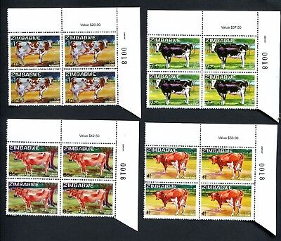 2017 ZIMBABWE  - EXOTIC DAIRY COWS new  Number BLOCKS of 4  - 22nd AUGUST 2107